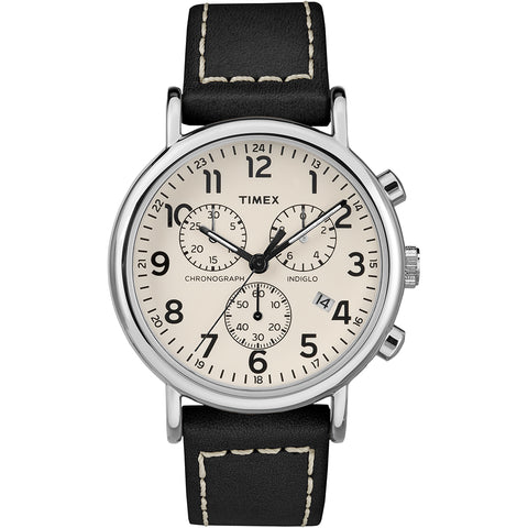 Timex Mens Weekender Chronograph 40mm Watch - White Dial/Black Leather Strap [TW2R42800JV]