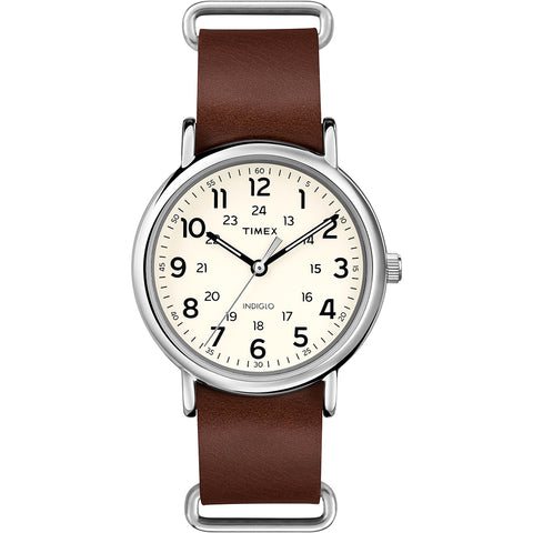 Timex Weekender Slip-Thru - Brown Leather Strap [T2P495JV]