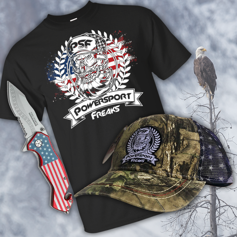 Buy a Patriotic Trucker Hat & T-Shirt, Get a Stars & Stripes Knife FREE!
