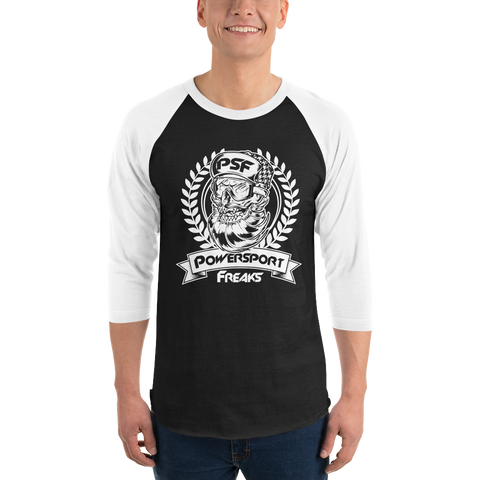 Powersport Freaks Skull Logo 3/4 Sleeve Shirt.  Black with White Logo