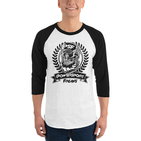 Powersport Freaks Skull Logo 3/4 Sleeve Shirt. White with Black Logo