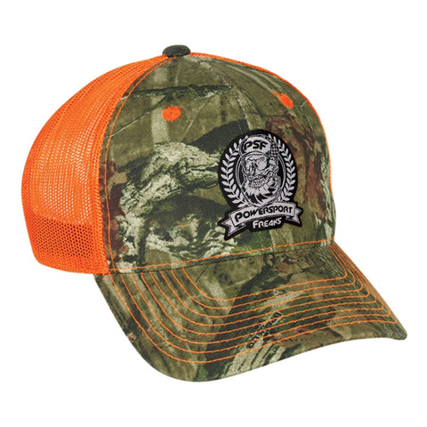 Safety Orange Camo Skull Logo Hat