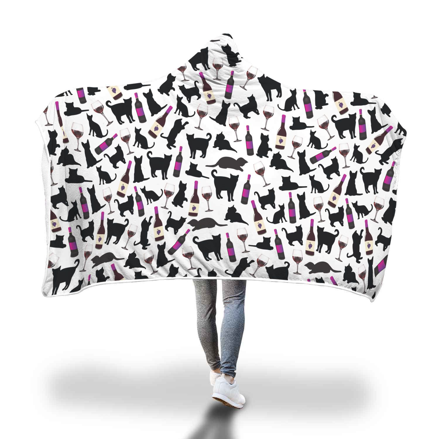 Wine and Cats Hooded Blanket