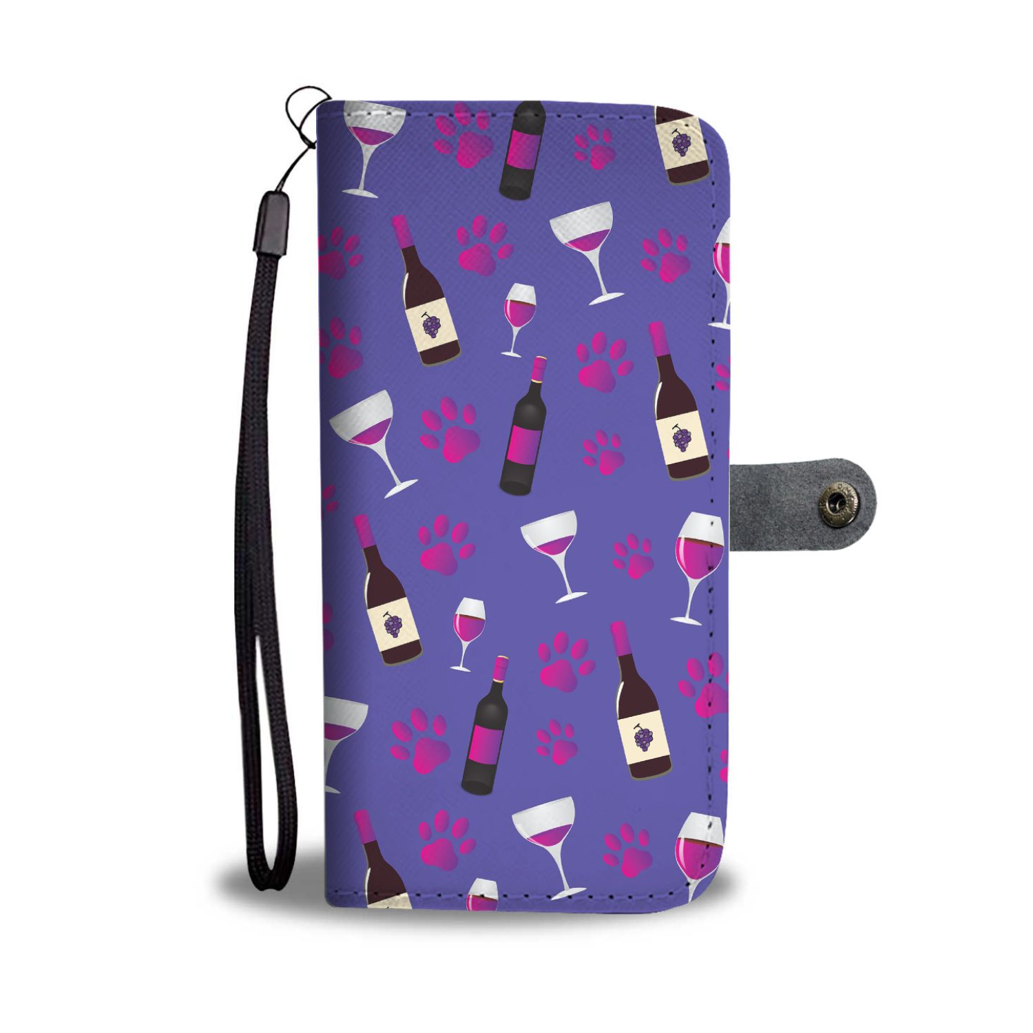 Wine And Dog Paws Wallet Case