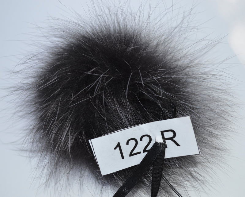 "7"" Rare Large Blue Frost Fox Pom Pom, dark grey color, with ribbons"
