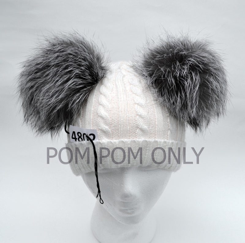 "6,5"" SILVER FOX Pom Poms- PAIR! Double Pom Poms, Fox Pom Pom, Fur Ears, Genuine Fur, Handmade Pom Pom, Fur Pom Pom Hat, Beanie, Knitted Hat"