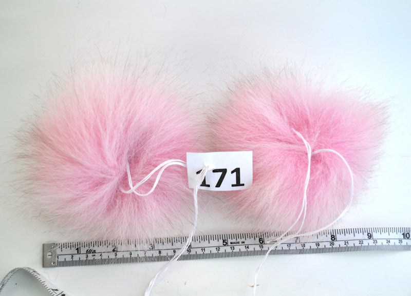 FOX POMPOM Pair! Fur Pom-Pom,Real Fox Fur, Pink Fox Pom Pom, Double Pom Pom, Fox Pom Pom, Pom Pom Ears, Hat, Knitted, Child, Cap, Beanie