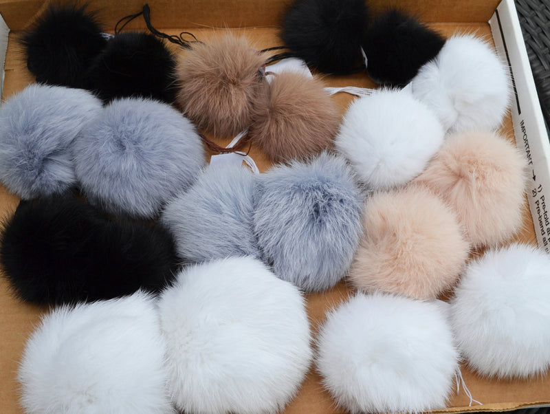 rabbit fur pom pom, double rabbit pom pom