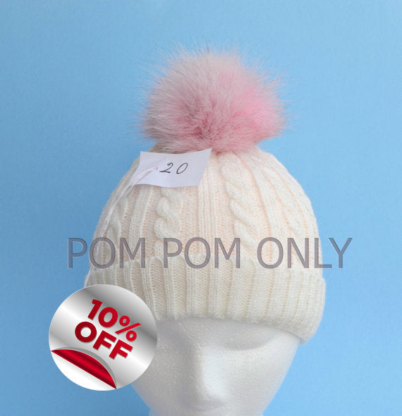 FOX FUR POMPOM! Pink Pom-Pom, Fox Pom Pom, Real Fur Pom Pom, Genuine Fur, Pom Pom for Winter Hat, Pom Pom for Women Hat, for Knitted hats