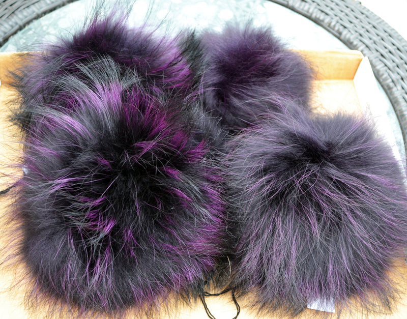 "8-9,5"" EXTRA LARGE PURPLE Pom Poms! Purple Raccoon Pom Pom Giant Pom Pom for Chunky Hat Beanie Tuque Winter Knit Hats  Puff Fluffy Fur Ball"