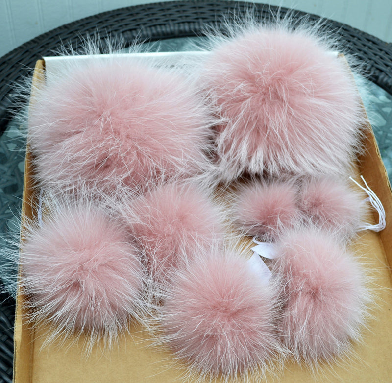 "9"" EXTRA LARGE PINK Powder Pom Poms! Fur Pom Pom Double Pom Pom Raccoon Pom Pom Chunky Hat Pom Pom Hat Beanie Tuque Knit Hat Puff Fur Ball"