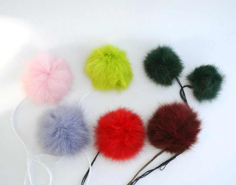 LOT OF SEVEN Pom Poms! Liquidation! Fur Pom Pom, Real Fur Pom Pom, Double Pom Pom, Rabbit Pom Pom, ideal for craft projects and knit hats