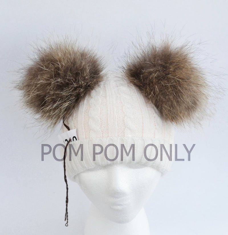 "7"" DOUBLE POM POM for Hat! Large Pom Pom, Real Fur PomPom, Fur Ears, Genuine Fur, Unique, Handmade Fur Pom Pom, Pom Pom Hat, Raccoon, Double"