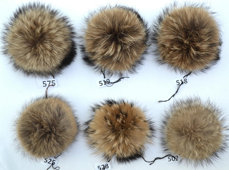 "8,5-9,5"" LARGE FUR POM Pom Real Fur Pom Pom Raccoon Pom Pom for Chunky Hat Beanie Tuque Winter Knit Hats Puff Fluffy Fur Ball Genuine Fur"