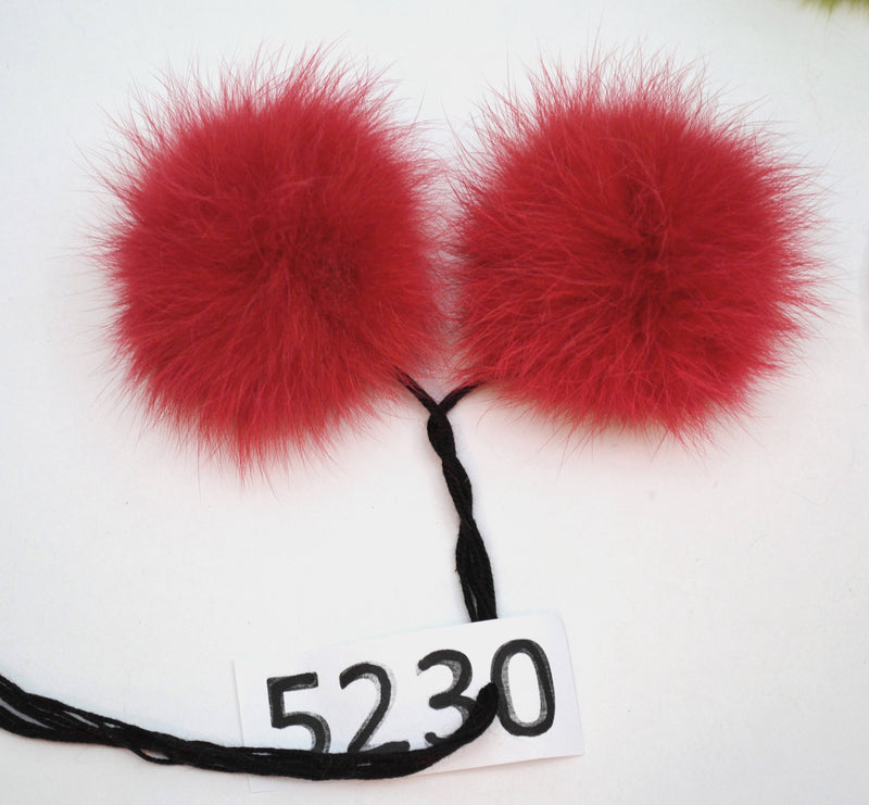 red double fur pom pom