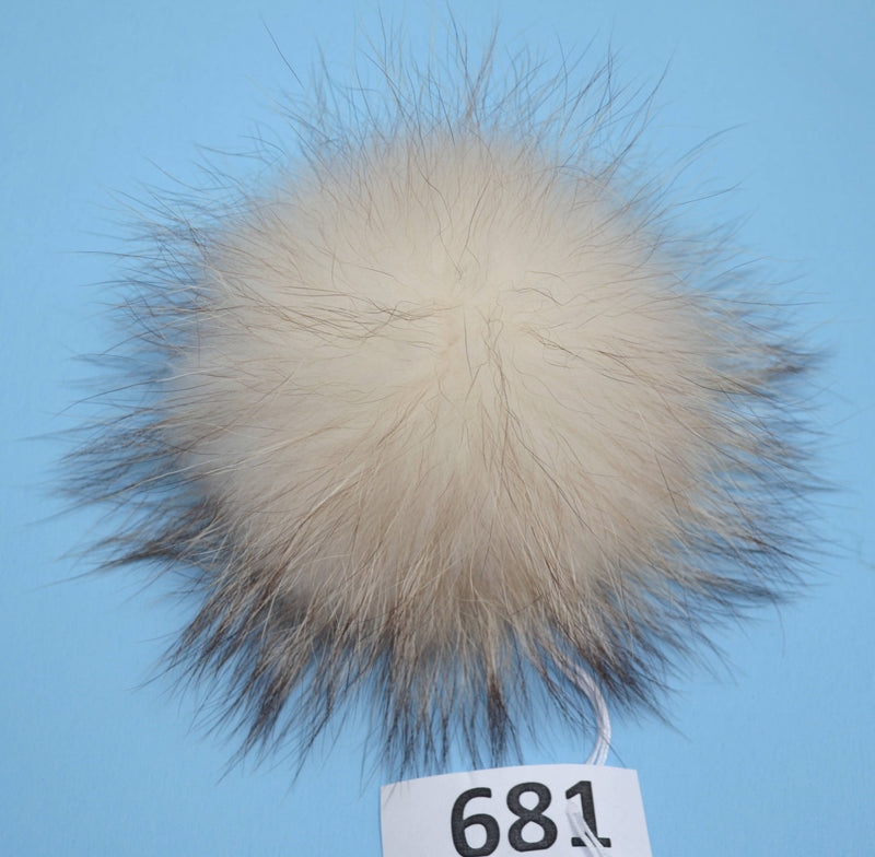 "7-9"" EXTRA LARGE WHITE Pom Poms with dark tips! Fur Pom Pom Double Raccoon Cream Pom Pom Chunky Hat Beanie Tuque Knit Hat Puff Fur Ball"