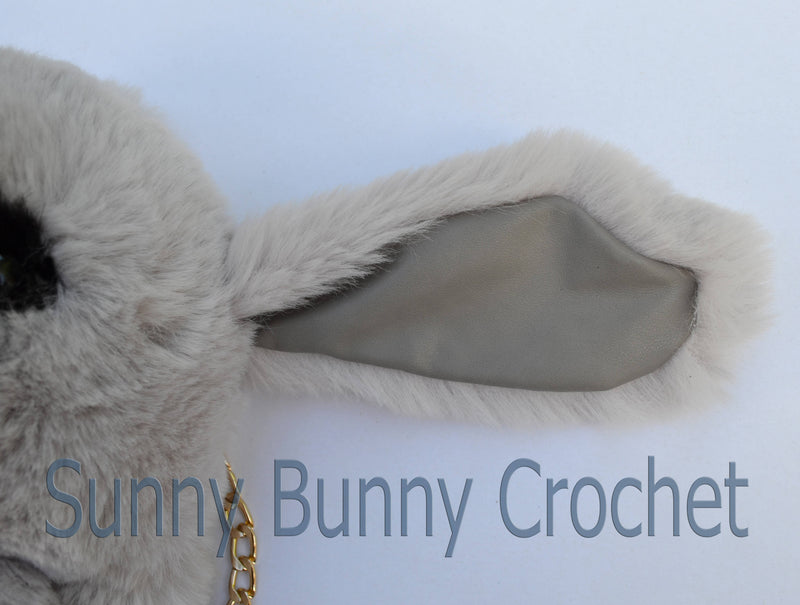 Gray Rabbit Shoulder Bag Rabbit Bag Real Fur Backpack Women Purse Girls Handbag Phone Bag Animal Bag with Chain Clutch Purse Cosmetic Bag