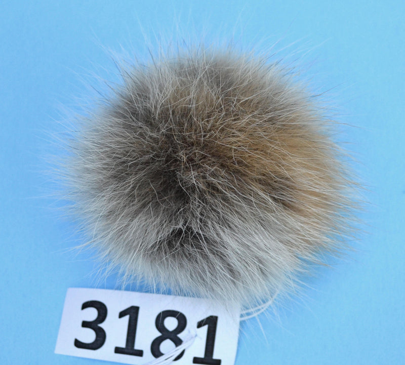 large fox fur pom pom for hat