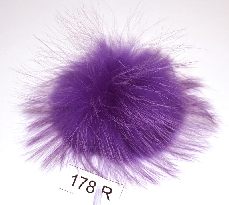 "7"" LARGE FUR POM Pom! High Quality Purple Raccoon Pom Pom Hat Beanie Tuque Winter Knit Hat Large Pom Pom Fluffy Raccoon Pom Pom Fur Ball"