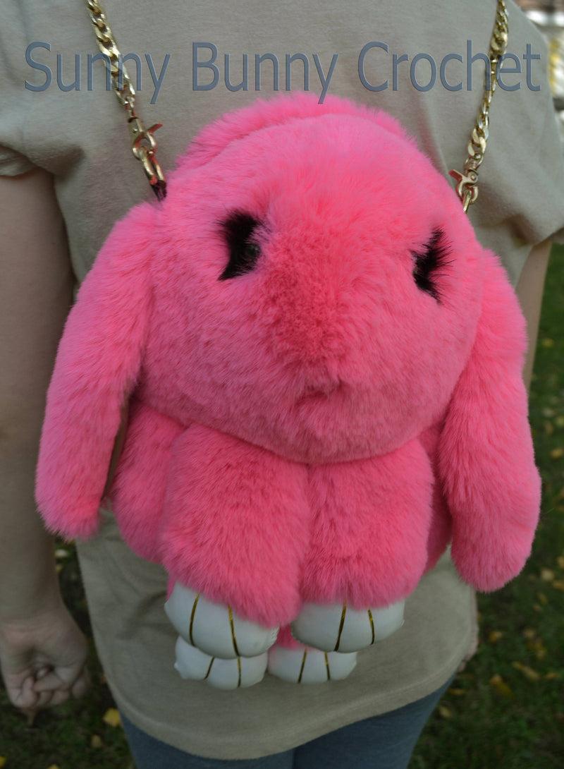 Pink Real Rabbit Fur Shoulder Bag Rabbit Bag Backpack Women Purse Girls Handbag Phone Bag Animal Bag with Chain Clutch Purse Cosmetic Bag