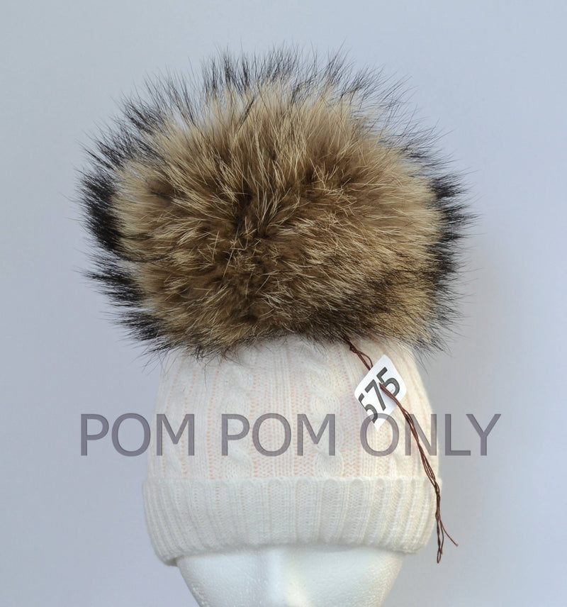 "9,5"" HUGE FUR POMPOM! Large Raccoon Pom-Pom, Fur Pom Pom for Hat, Pom Pom for Women Hat, for Children Hat, for Knit Hat, Raccoon Fur, Child"