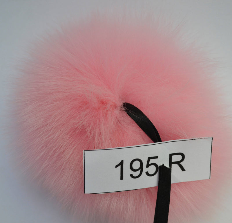 "6"" Pink fox pom pom for hat with ribbons"