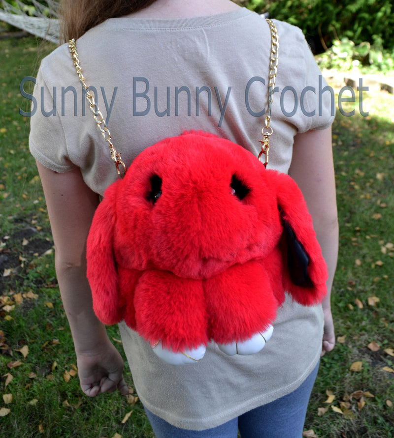 Red Rabbit Shoulder Bag Rabbit Bag Real Fur Backpack Women Purse Girls Handbag Phone Bag Animal Bag with Chain Clutch Purse Cosmetic Bag