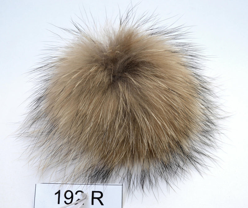 "7,5"" FUR POM POM! Real Fur Pom Pom Hat Raccoon Pompom Natural Fur Pompom Large Pom Pom Fur Ball Detachable Pom Pom Hat Beanie Children Women"