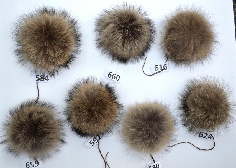 large raccoon fur pom poms