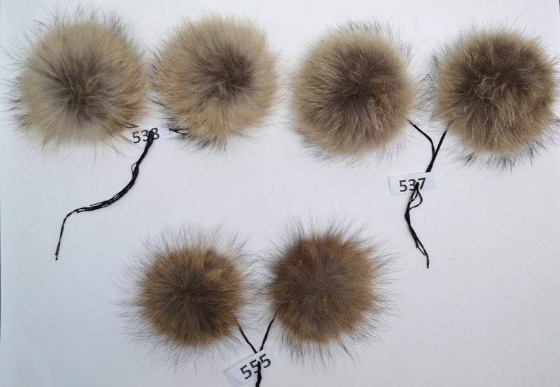 "7,5"" RACCOON FUR Pom Poms- PAIR! Raccoon Pom Pom, Fur Ears, Genuine Fur, Green Pom Pom, Handmade Fur Pom Pom, Pom Pom Hat, Raccoon, Double"