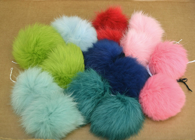double rabbit pom poms of natural color