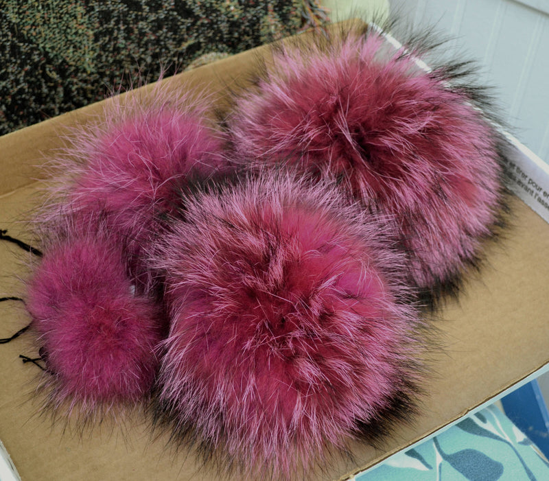 giant raccoon fur pom pom