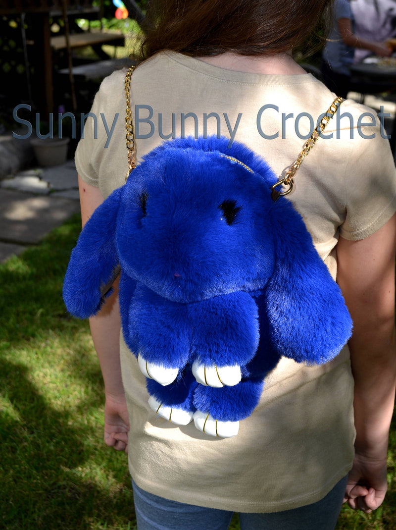 Royal Blue Rabbit Backpack Real Fur Bag Bunny Shoulder Bag  Women Purse Girls Handbag Phone Bag Animal Bag Chain Clutch Purse Cosmetic Bag