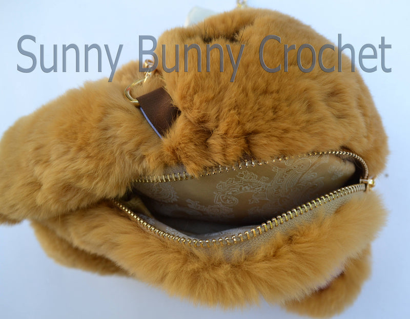 Brown Rabbit Handbag Girls Shoulder Bag Rabbit Bag Real Fur Backpack Women Purse  Phone Bag Animal Bag with Chain Clutch Purse Cosmetic Bag