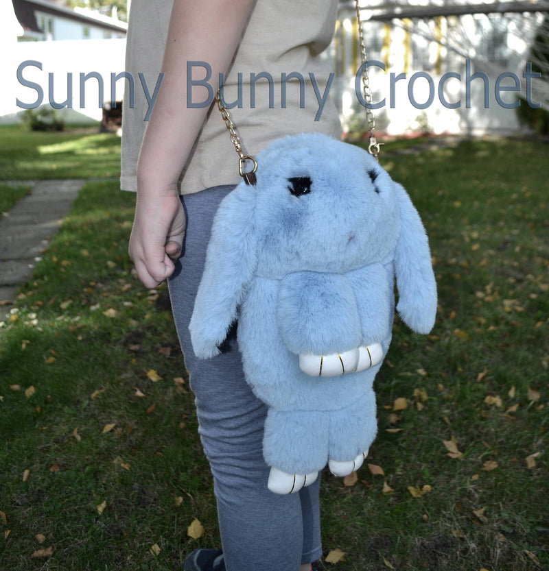 Light Blue Rabbit Bag Rabbit Shoulder Bag Real Fur Backpack Women Purse Girls Handbag Phone Bag Animal Bag Chain Clutch Purse Cosmetic Bag