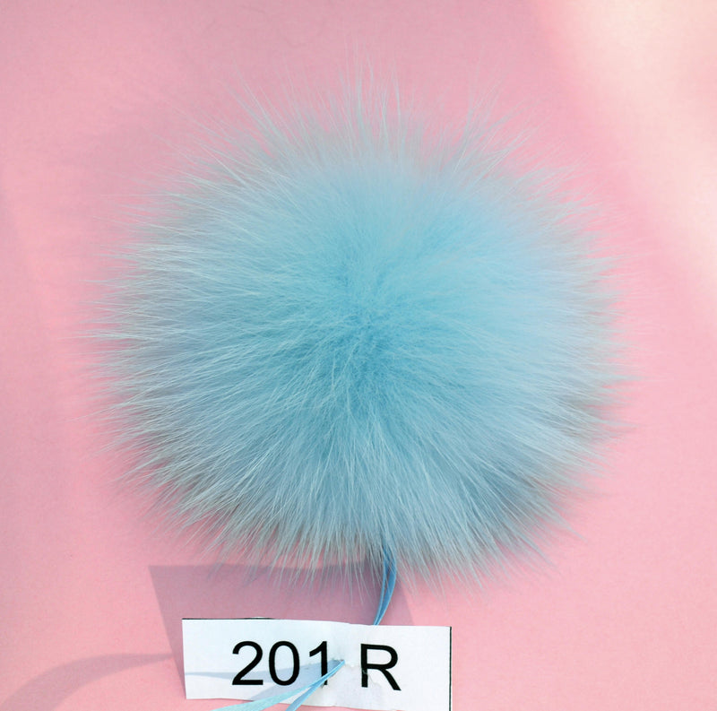 blue fox pom pom for knit hat