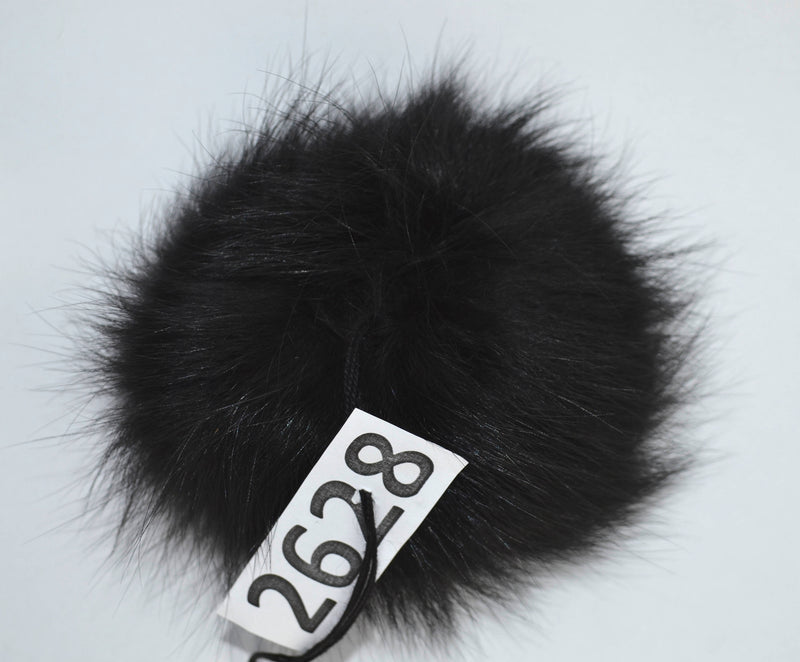 "6"" HIGHEST QUALITY Black Fox Fur pom pom for women hat with threads"
