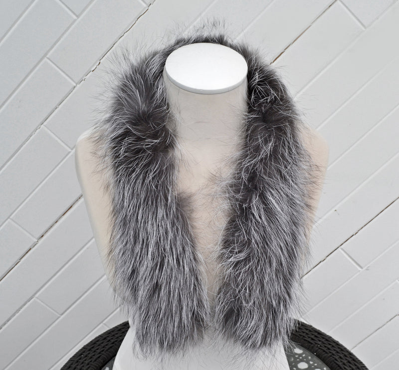 READY TO SHIP, Real Silver Fox Fur Trim Hood, Fur collar trim, Fox Fur Collar, Fur Scarf, Fur Ruff, Fox Fur Hood, Fox Fur, Fur stripe, Coat