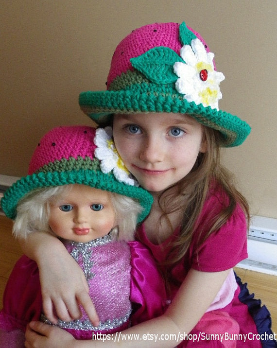 CROCHET HAT PATTERN, Children Crochet Pattern, Summer Crochet Hat, Strawberry Brimmed Hat Pattern, Daisy, Sun hat, Kids hat, Girl hat, Adult