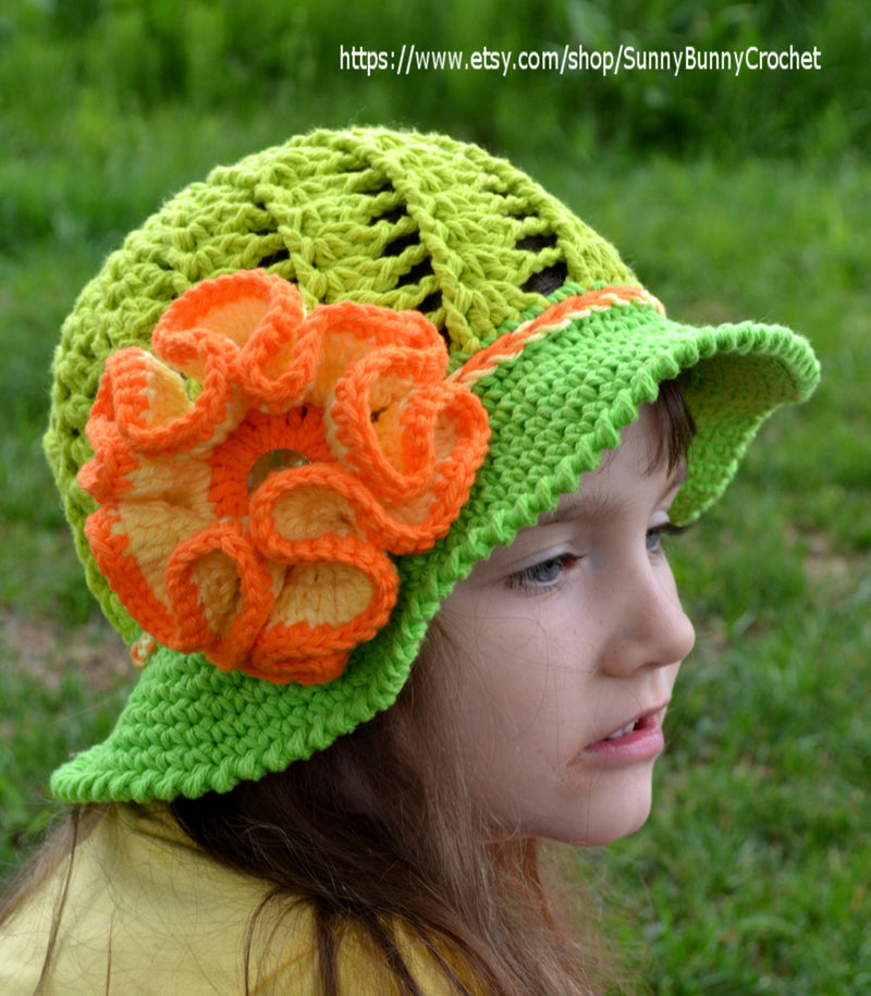 CROCHET SUMMER HAT - Crochet Sun hat, Girls Hat, Children, Large Flower, Cotton Beach Sun Hat, Brim, Baby, Crochet pattern, Green, Orange