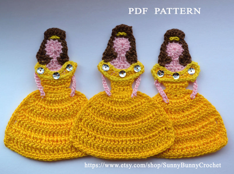 PRINCESS APPLIQUE, Crochet Applique Pattern,  Princess Belle Appliqué,  Disney Princess, Crochet Princess,Beauty, Beast, children, handmade