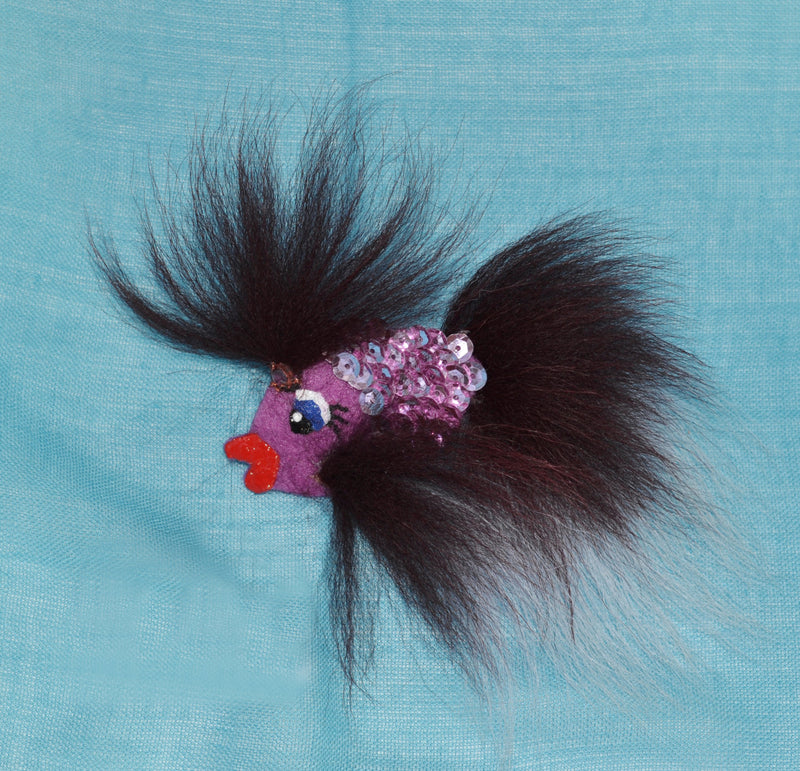 CHILD BROOCH! Fish Brooch, Real Fur Brooch, pin for hat, coat, dress, blanket, hair accessories, fox fur brooch, kids, baby, animal tropical