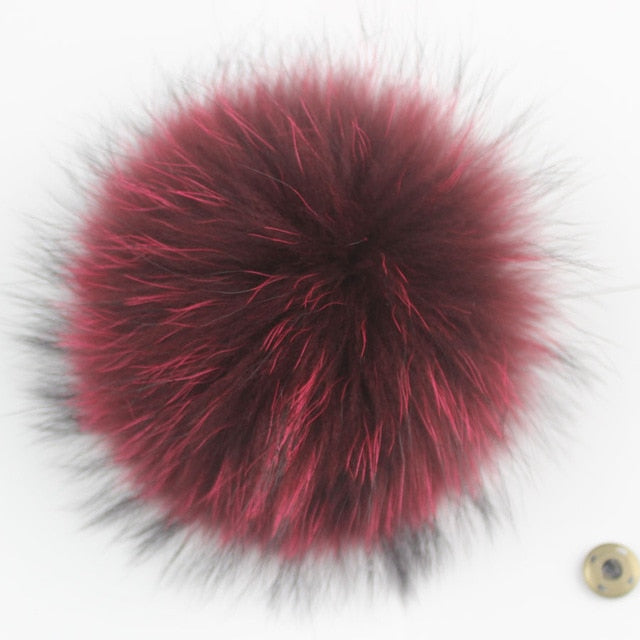 15-16cm Round Fluffy Real Raccoon Fur Pompoms For Handbags Keychains and Knitted Beanie Cap Hats  Genuine fur pompon Pom pom