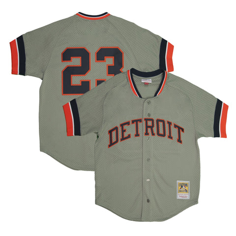 Adult Detroit Kirk Gibson Grey Mitchell and Ness Vintage Jersey
