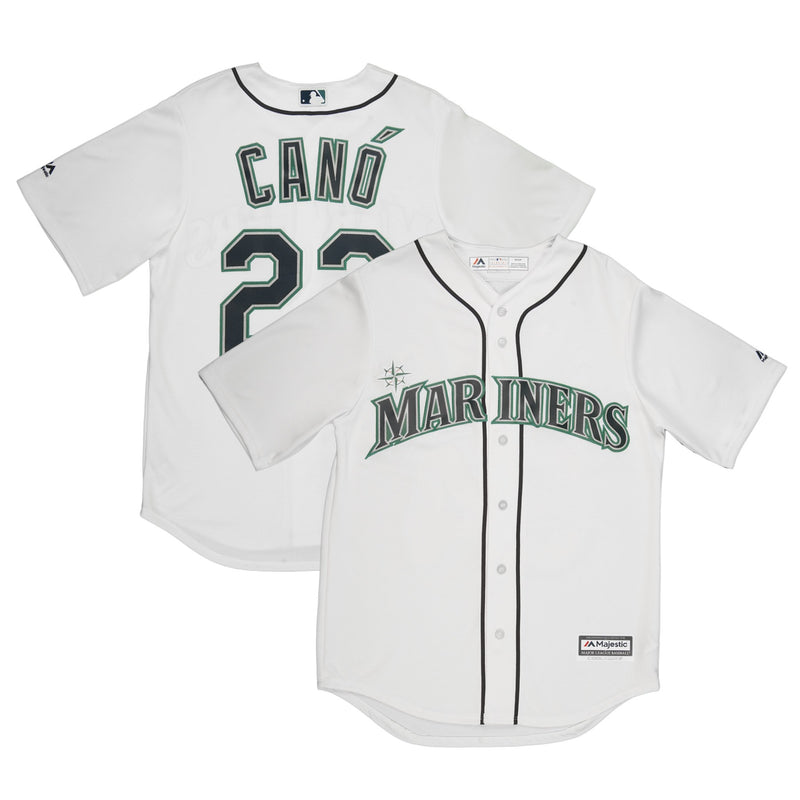 Youth Seattle Robinson Canó Majestic White Cool Base Jersey