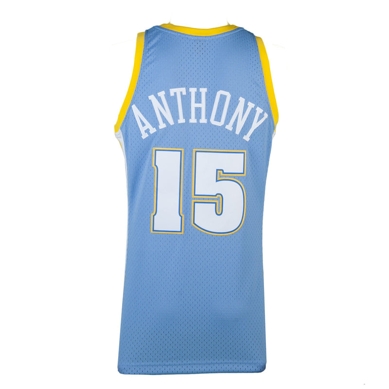 Adult Denver Carmelo Anthony Mitchell and Ness Blue Hardwood Classics Jersey