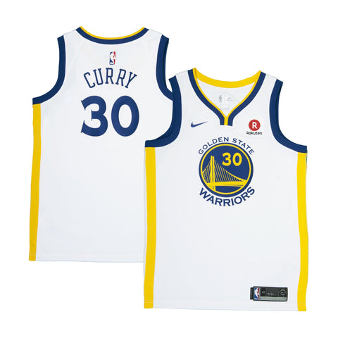 Youth Golden State Stephen Curry Nike White Swingman Association Jersey - Sponsor Patch