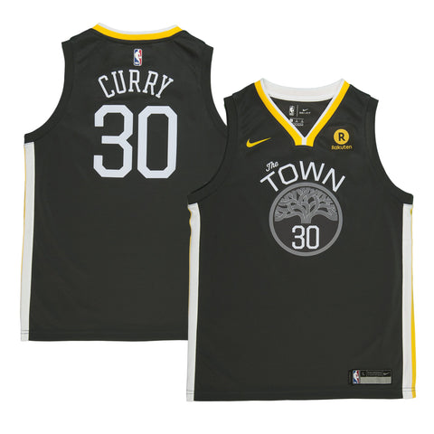 Youth Golden State Stephen Curry Nike Black Swingman Statement Jersey - Sponsor Patch