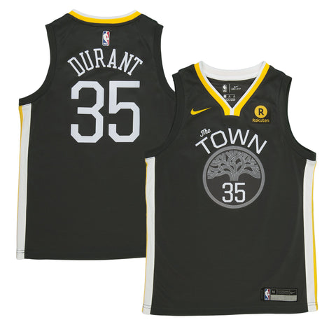 Youth Golden State Kevin Durant Nike Black Swingman Statement Jersey - Sponsor Patch