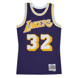 Adult Los Angeles Magic Johnson Mitchell and Ness Purple Hardwood Classics Jersey